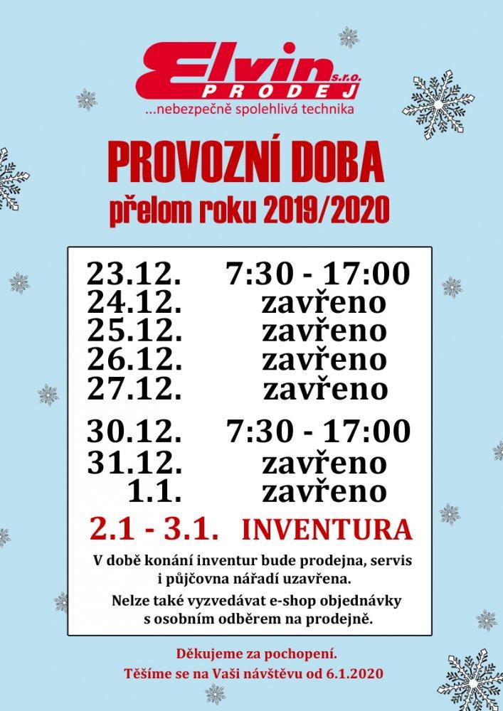 Vánoční otevírací doba ELVIN.CZ 2019/2020