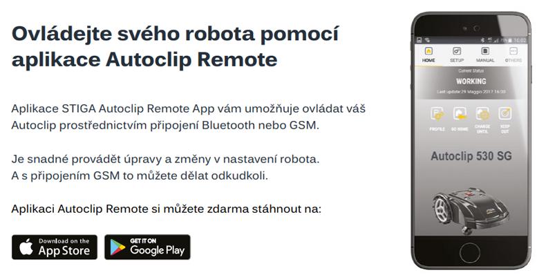 Ovládejte robota pomocí aplikace Autoclip Remote