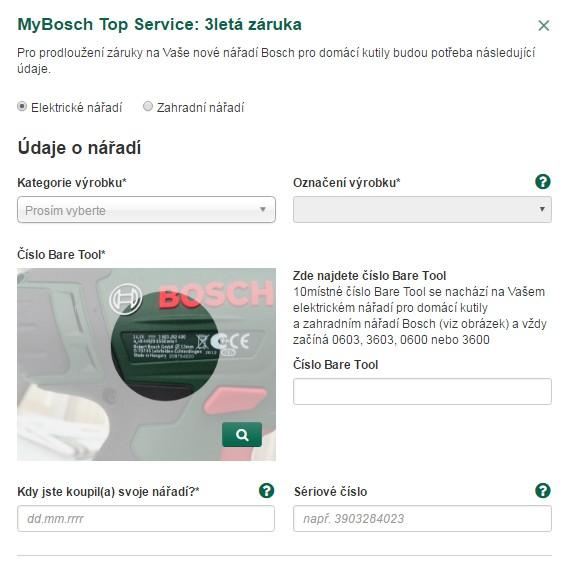 MyBosch Top Service - 3letá záruka