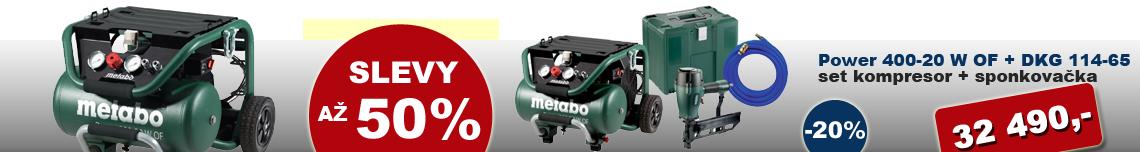 ELVIN AKCE METABO Power 400-20 W OF + DKG 114-65 set kompresor + sponkovačka