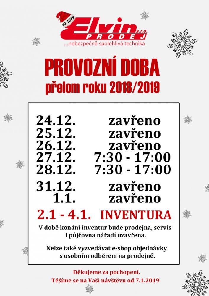 Vánoční provozní doba e-shopu a prodejny ELVIN PRODEJ